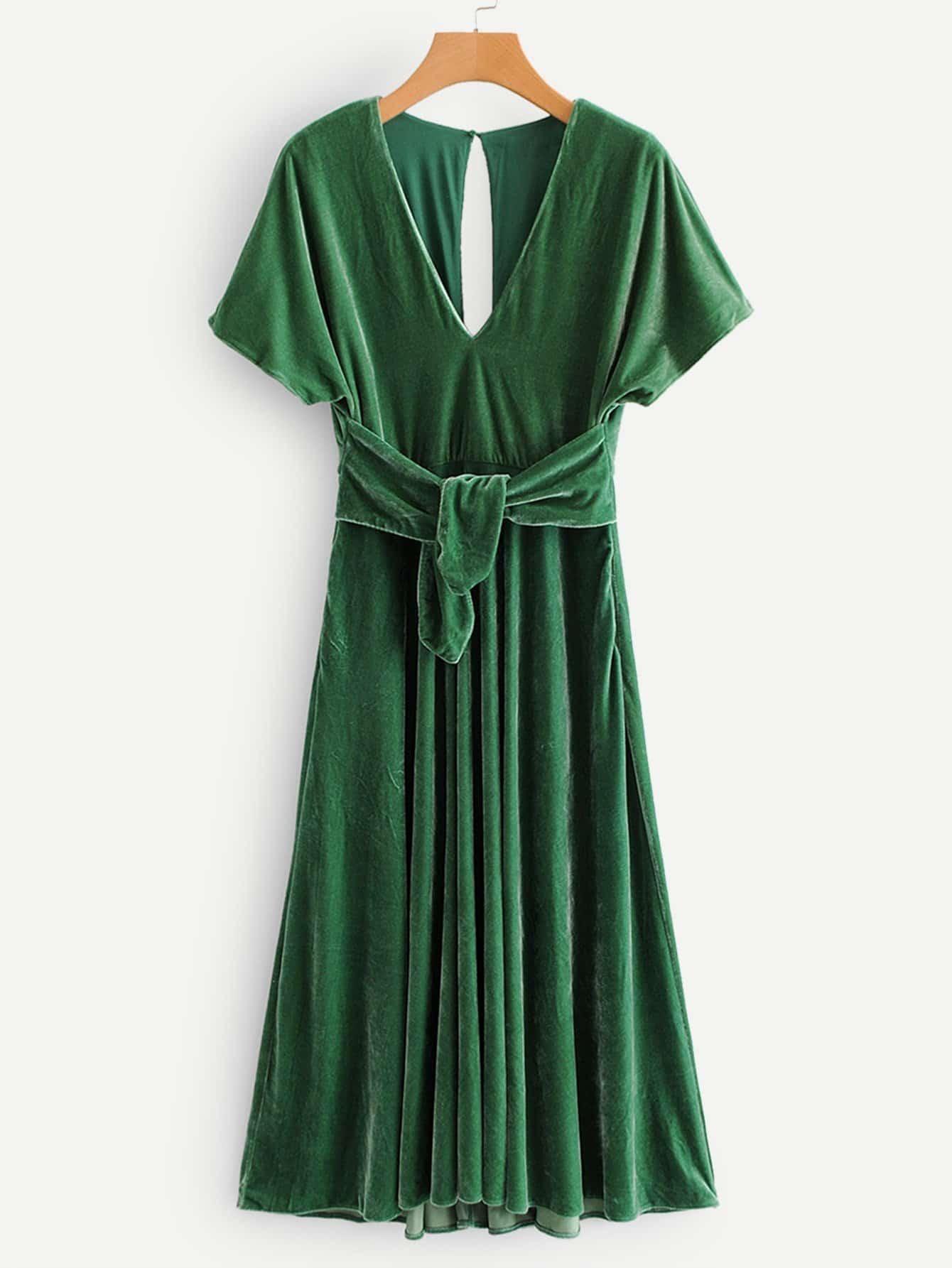 Купить Бархатное платье с украшением пуговицы и банта, null, SheIn