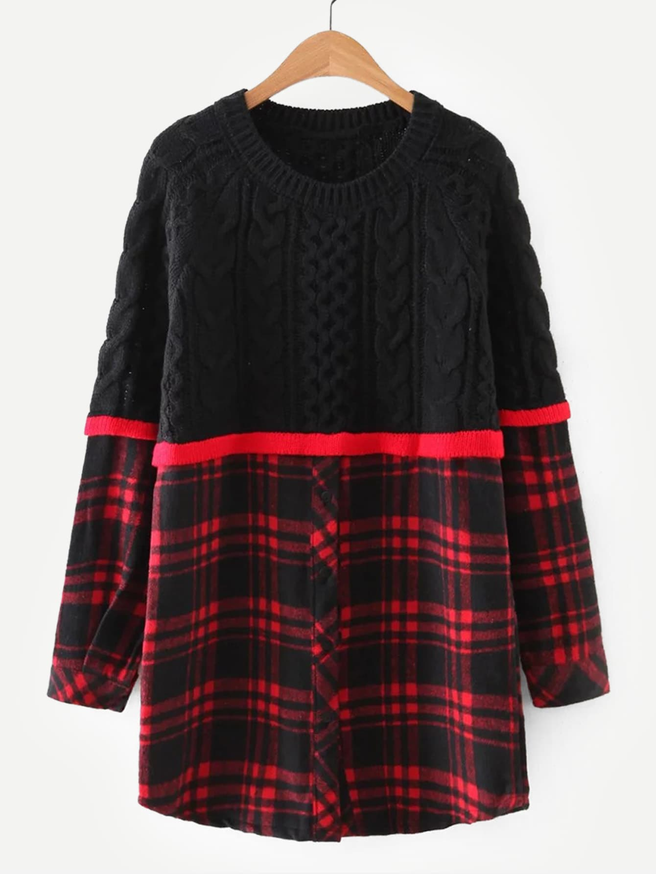 цена на Contrast Tartan Plaid Cable Knit Pullover
