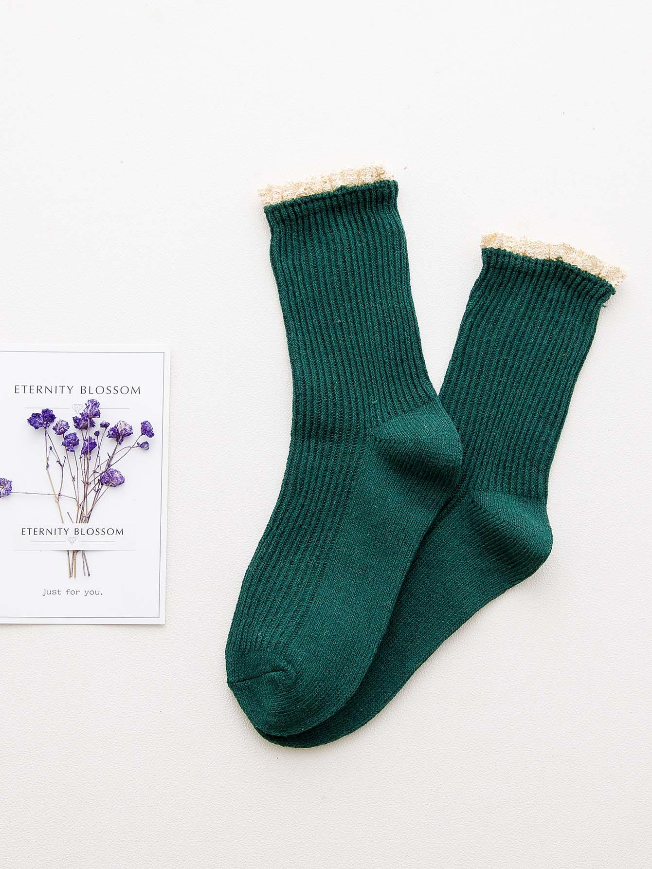 Strick Socken 1Paar mit Spitzen