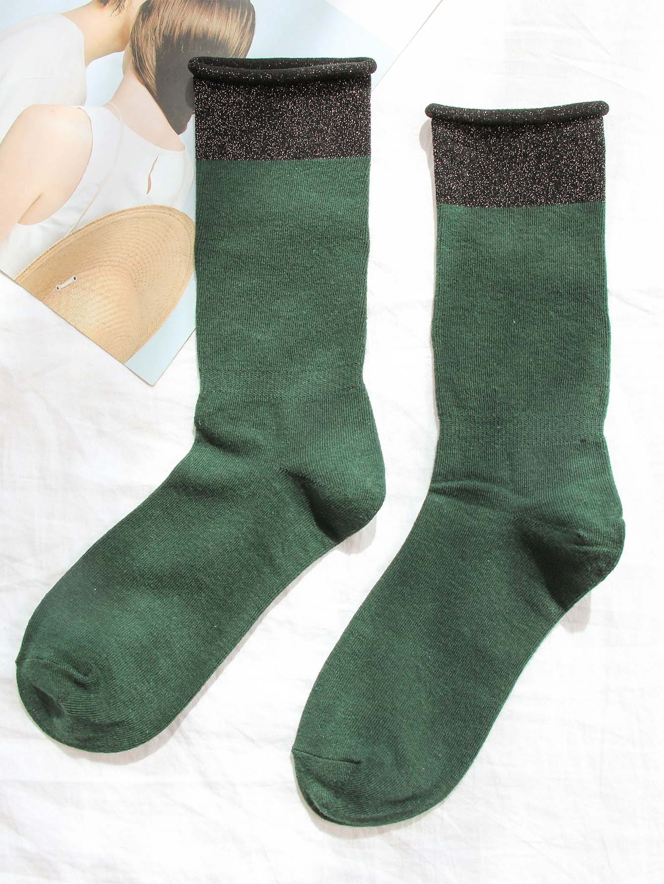 Socken 1Paar mit Saum