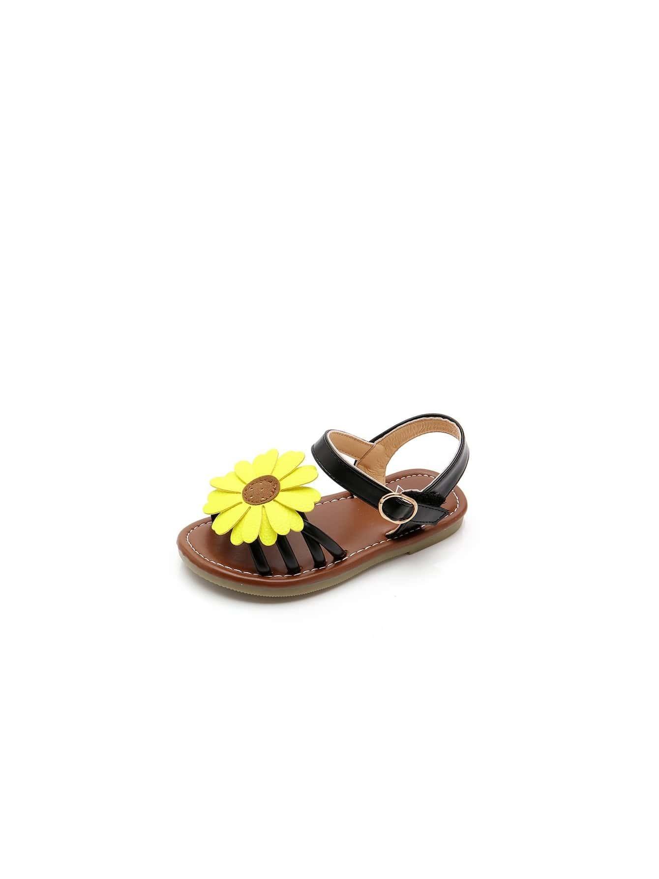 Girls Flower Decorated Sandals