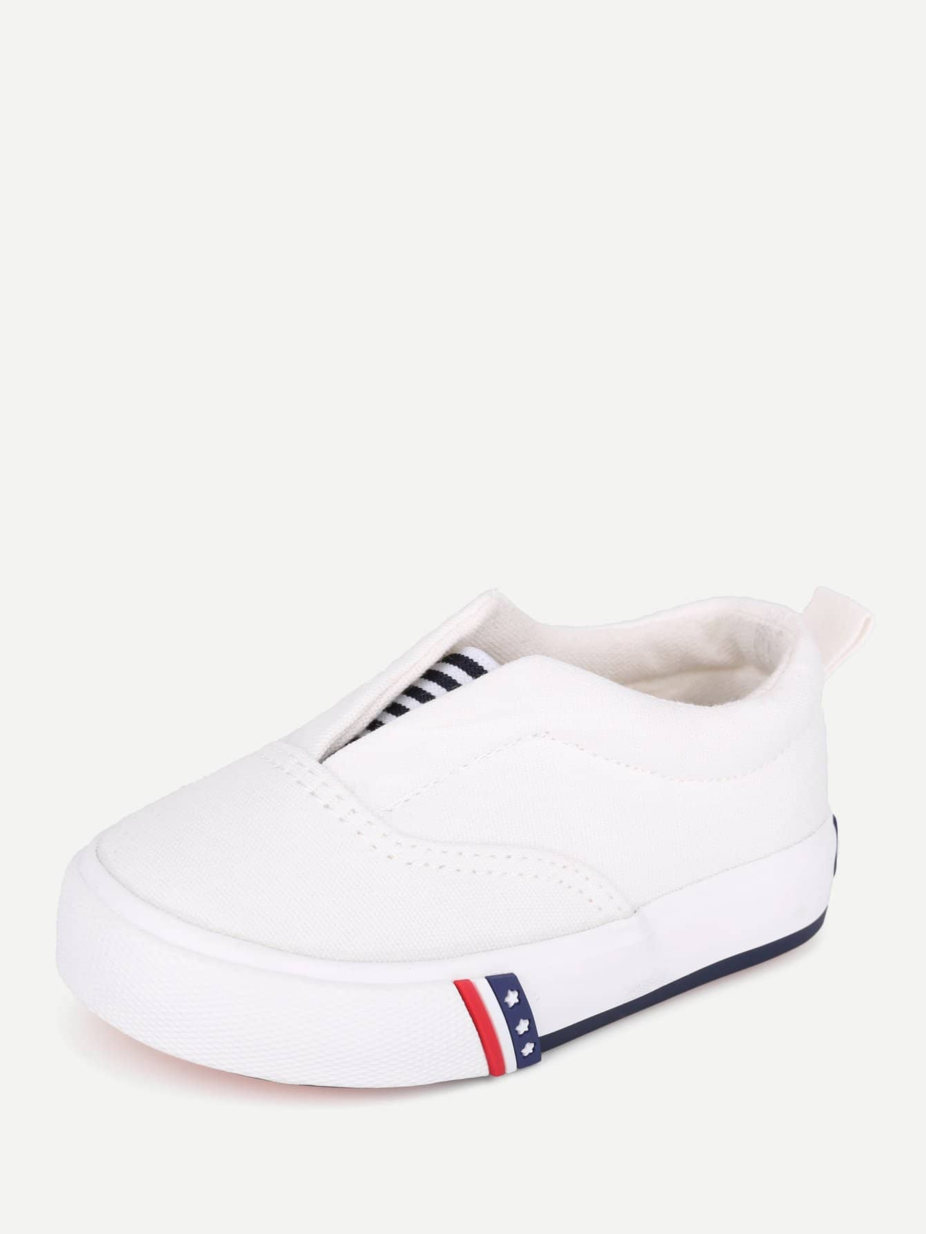 Kids V Cut Striped Detail Loafers