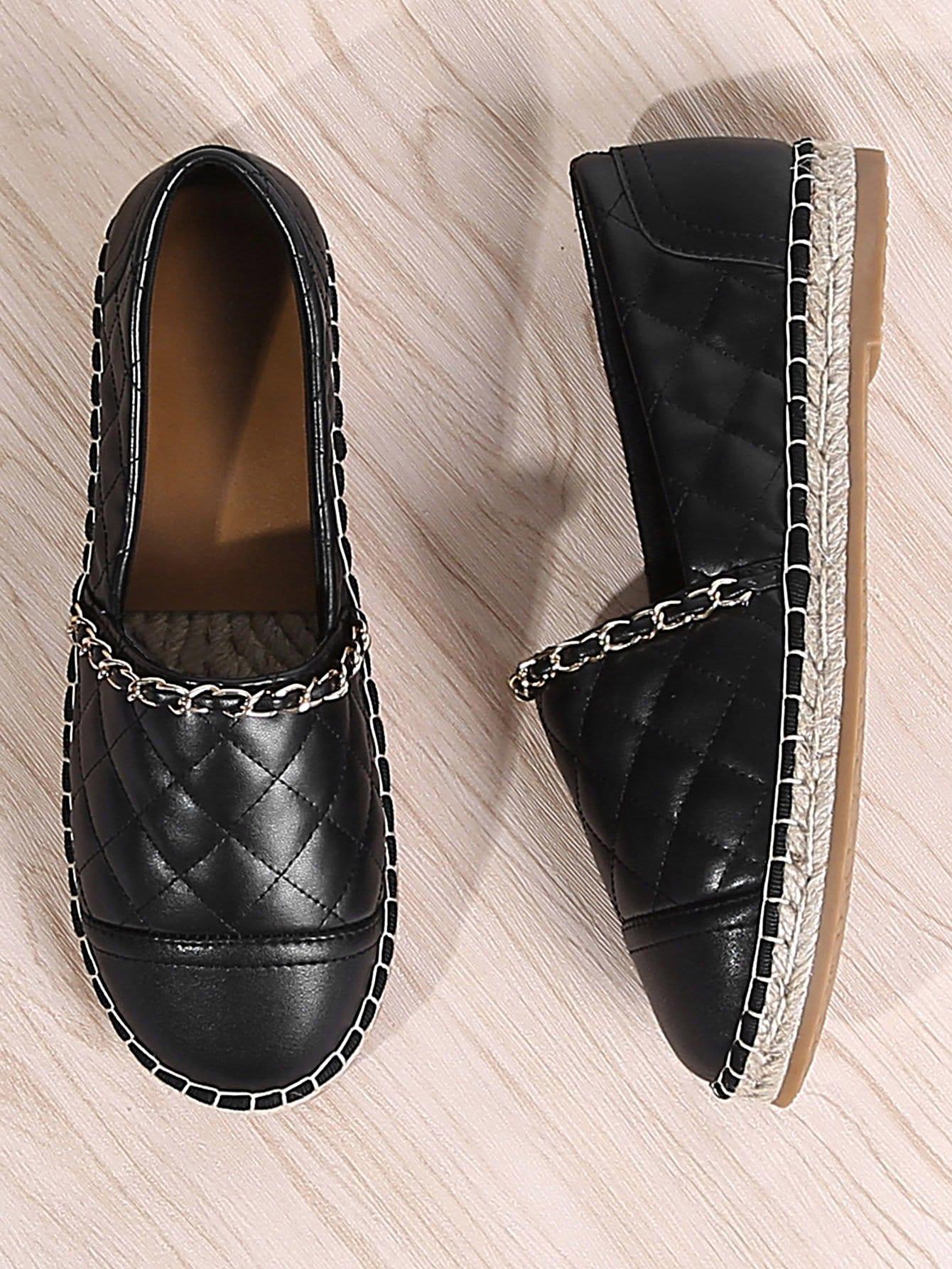 Купить Туфли на плоской подошве с украшением цвета и цепи, null, SheIn