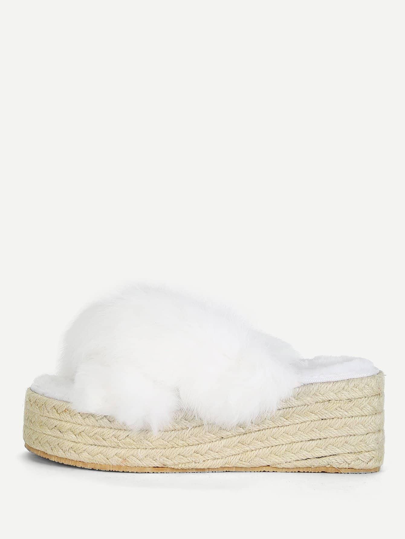 Купить Туфли на танкетке из искусственных кож, null, SheIn