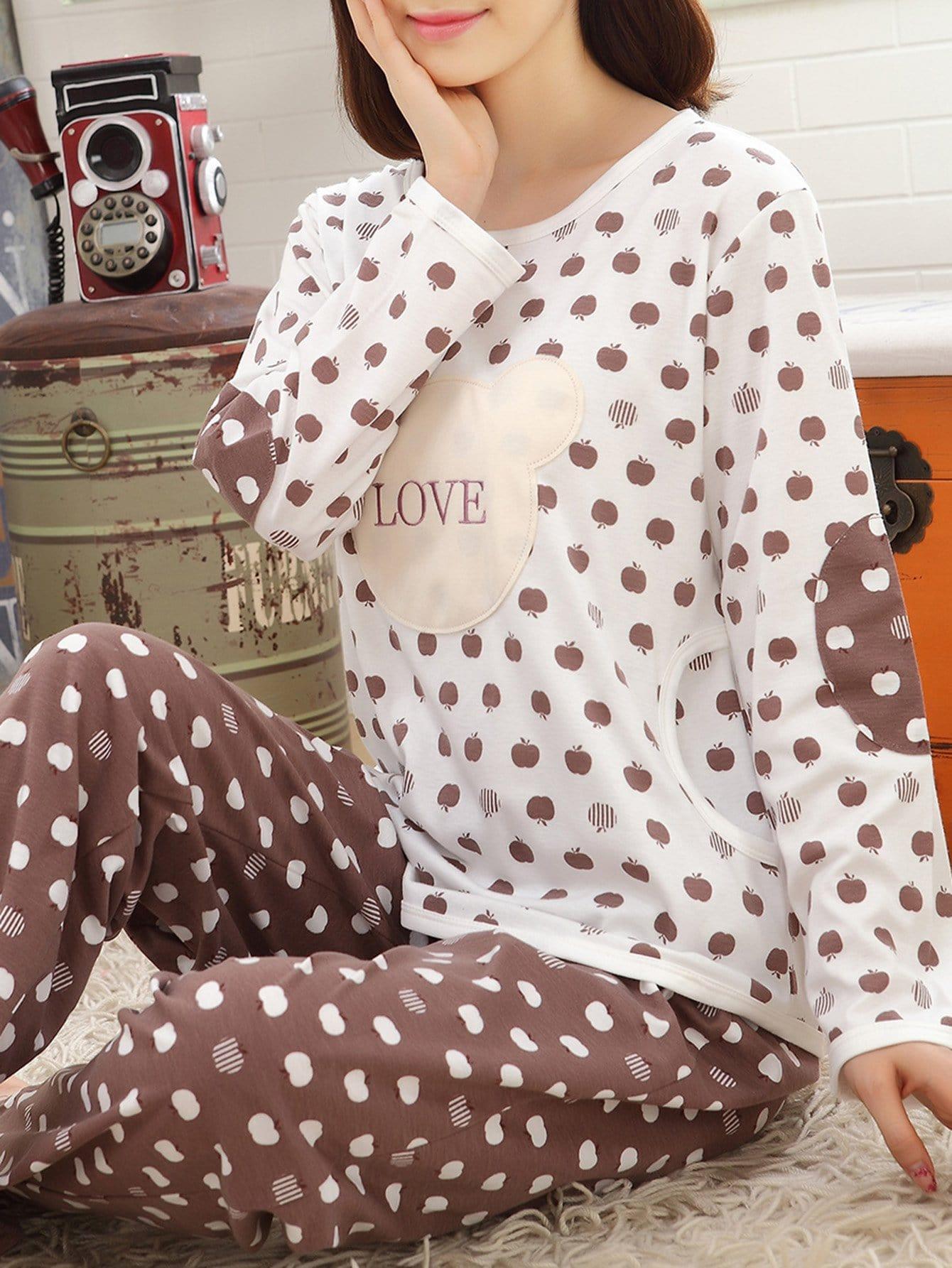 Pajama Set mit Apfel Muster und Buchstaben Stickereien
