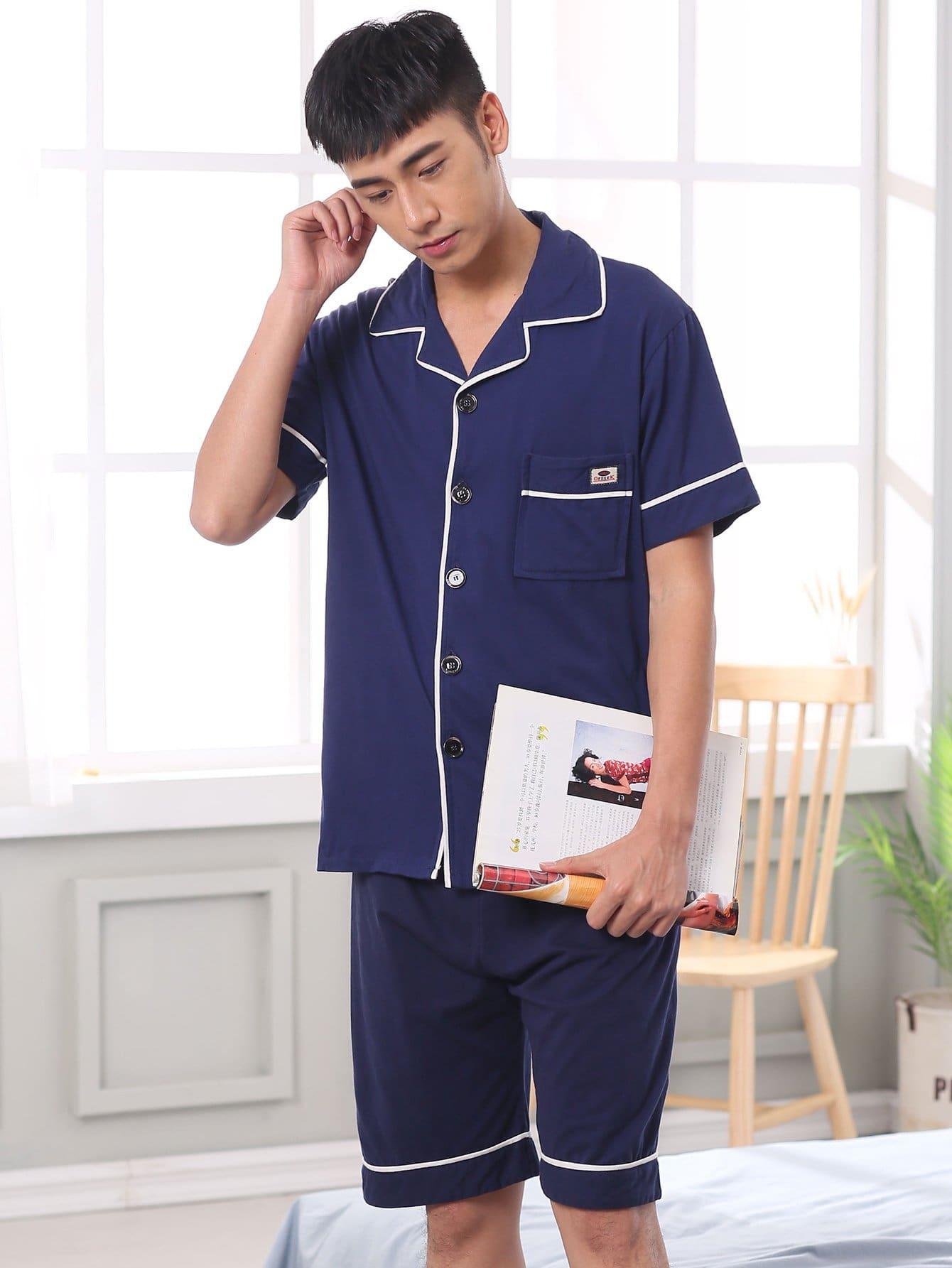Купить Комплект пижамы с украшением пуговицы и со симметрическими Binding для мужчины, null, SheIn