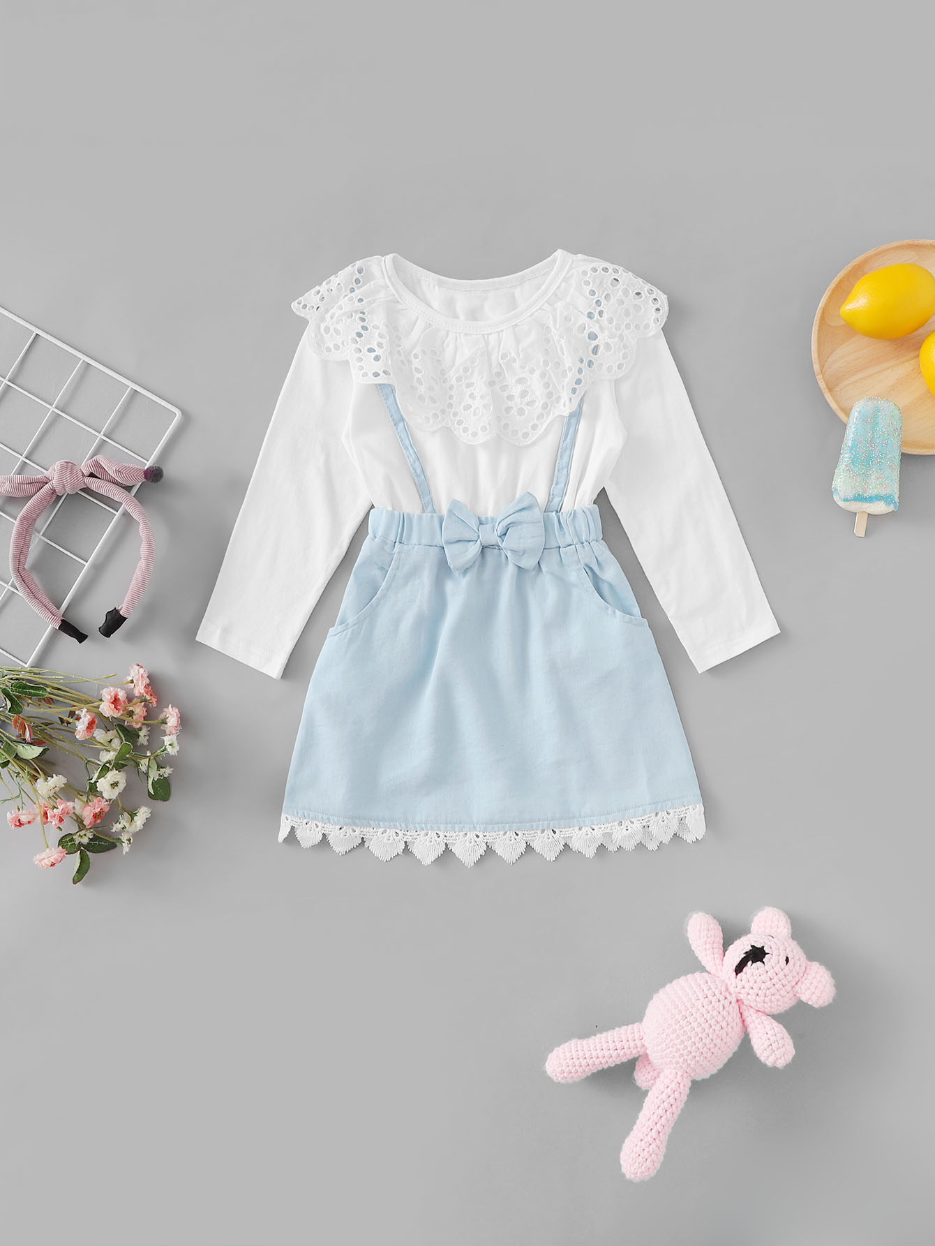 Купить 2 в 1 платье с вышивкой и кружевными оборками для девочки, null, SheIn