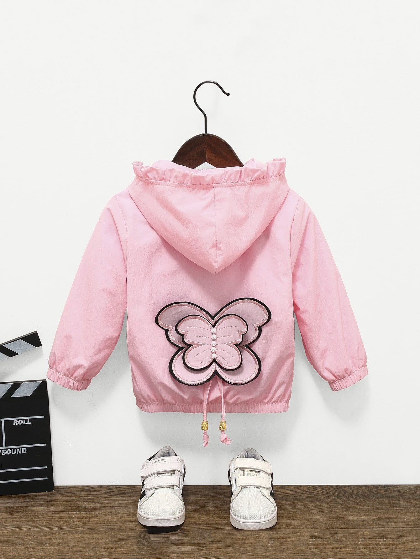 Girls Embroidery Detail Butterfly Pattern Frill Trim Jacket girls embroidery detail frill trim blouse
