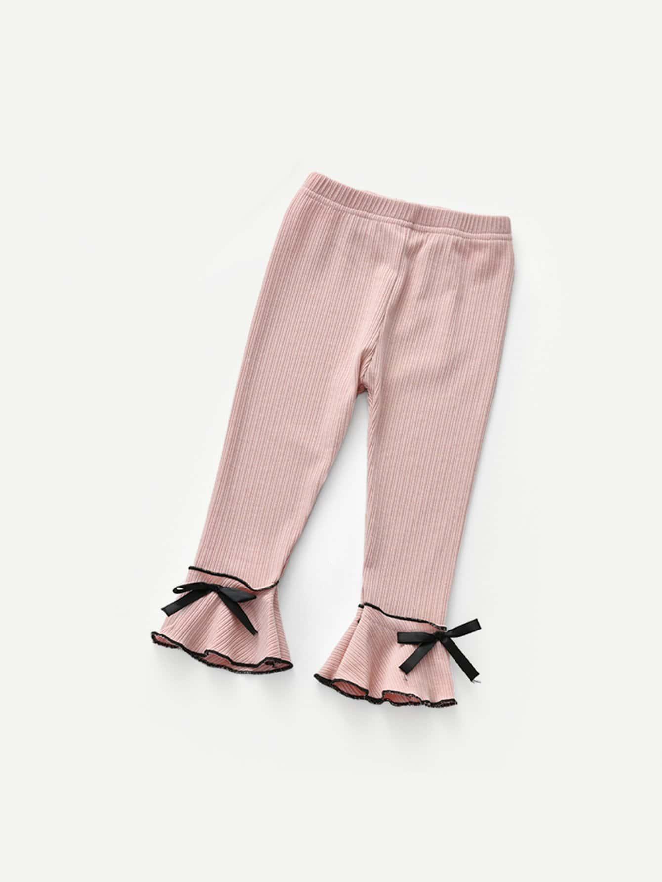 Girls Lettuce Edge Trim Ruffle Hem Pants