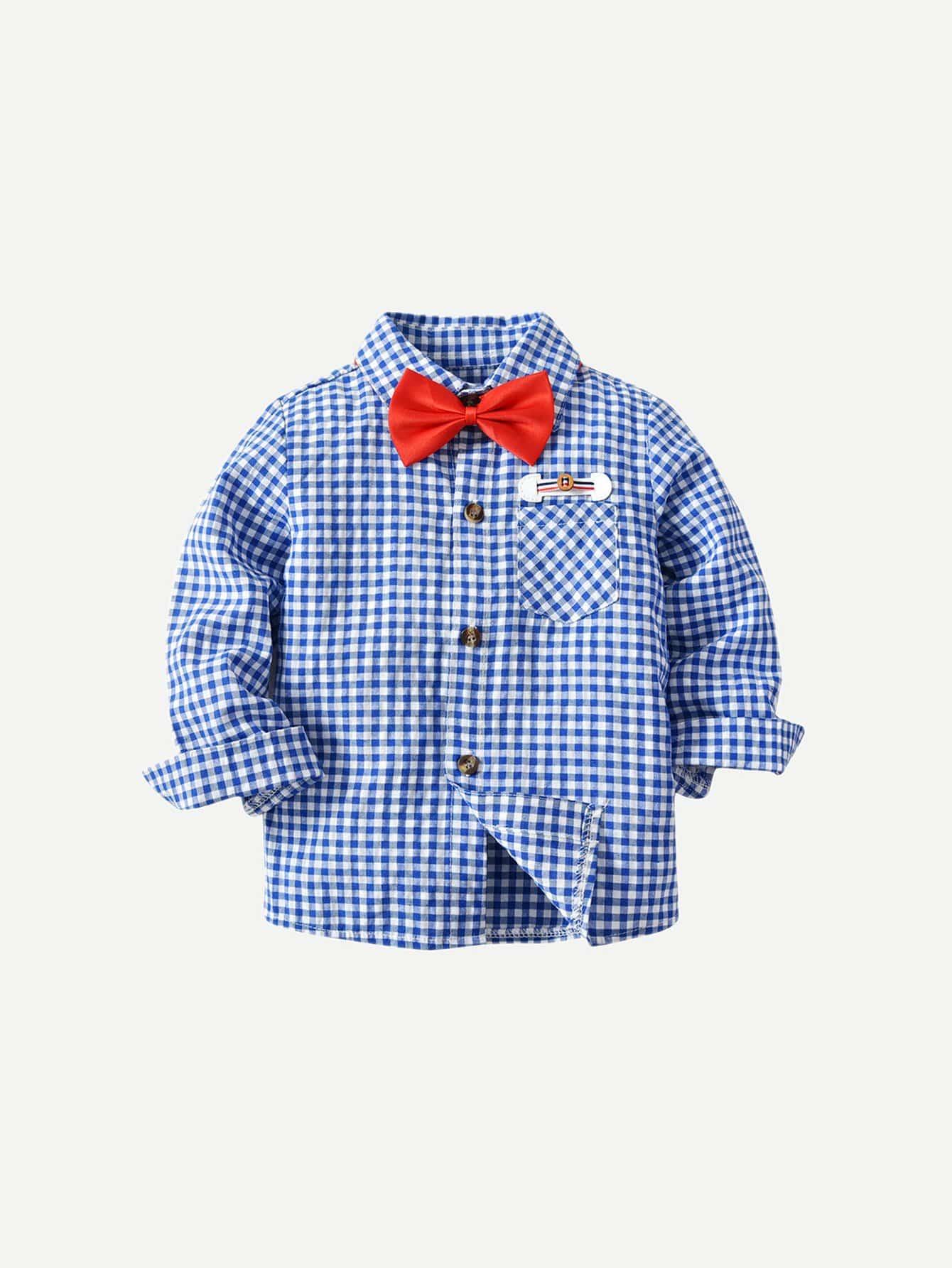 Мальчики Бант Спереди Клетчатая Рубашка