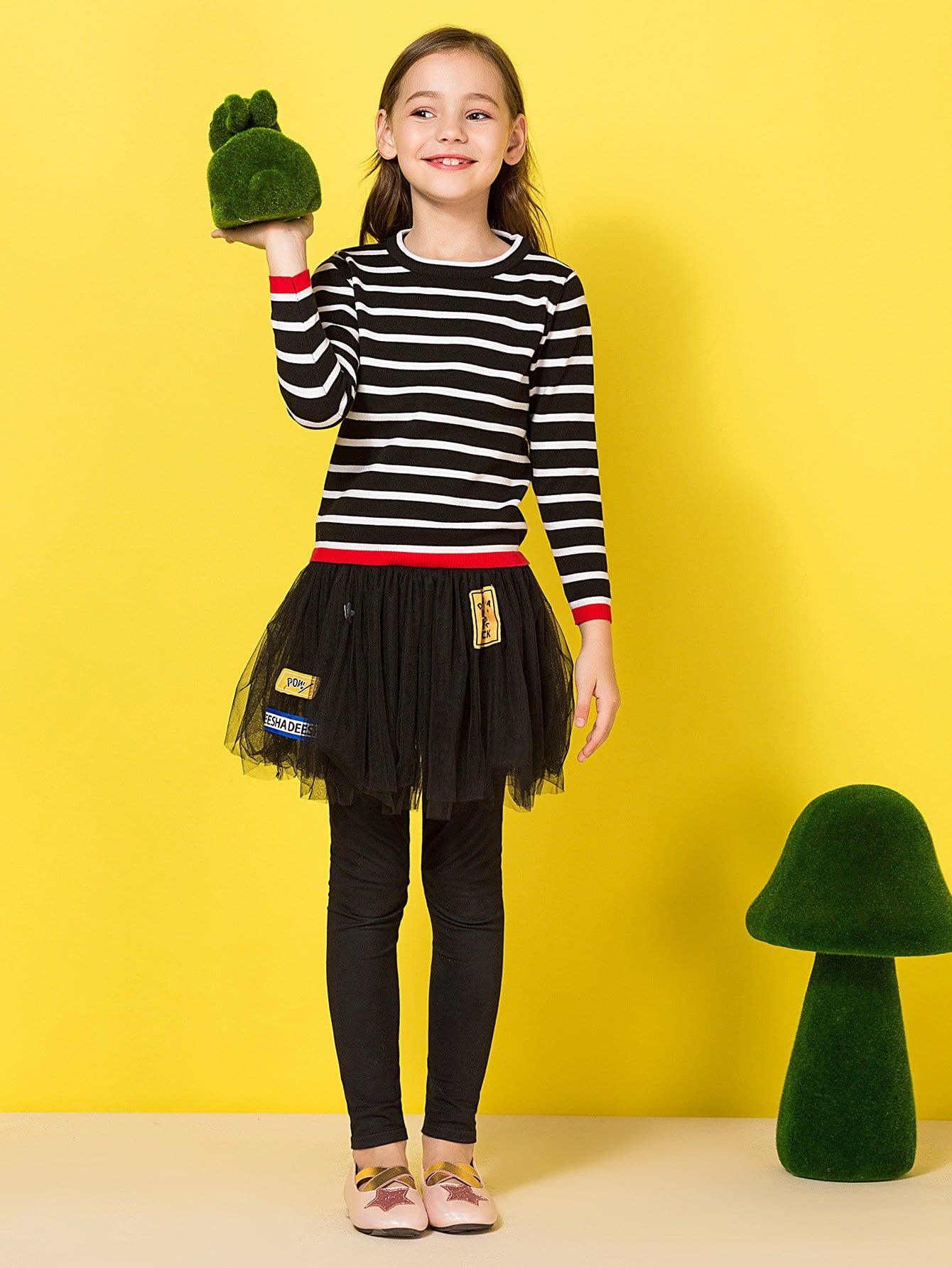 Купить Полосатая фуфайка со симметрическими оторочками для девочки, null, SheIn