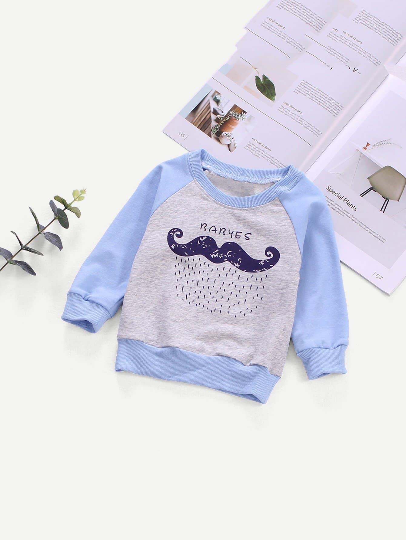 Boys Contrast Raglan Sleeve Cartoon Print Sweatshirt