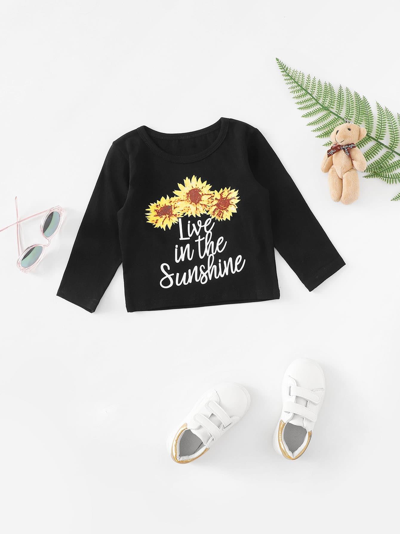 Girls Sunflower & Letter Print Tee