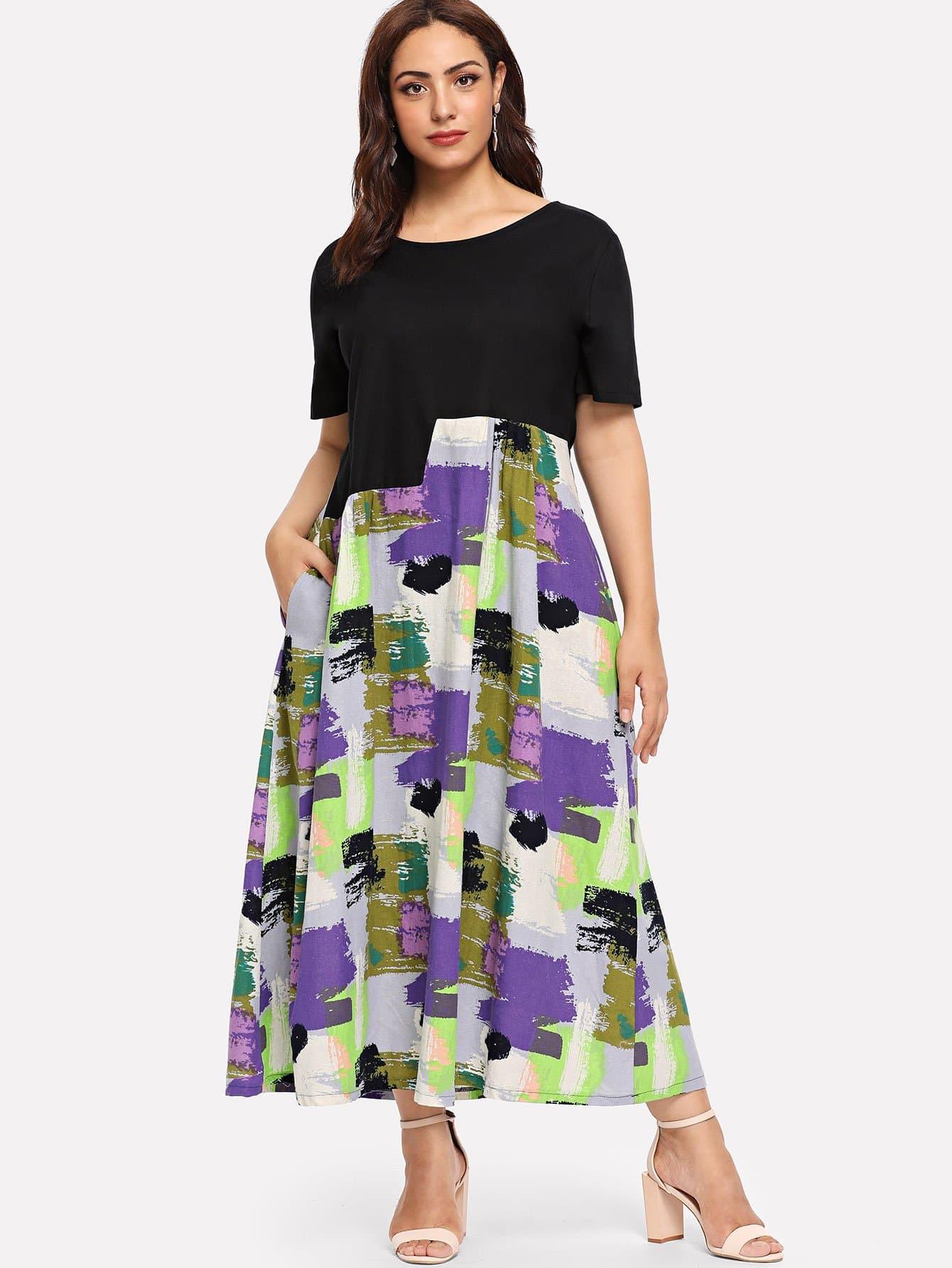 Купить Чёрные Галстуковый краситель Повседневные Платья размера плюс, Esther, SheIn