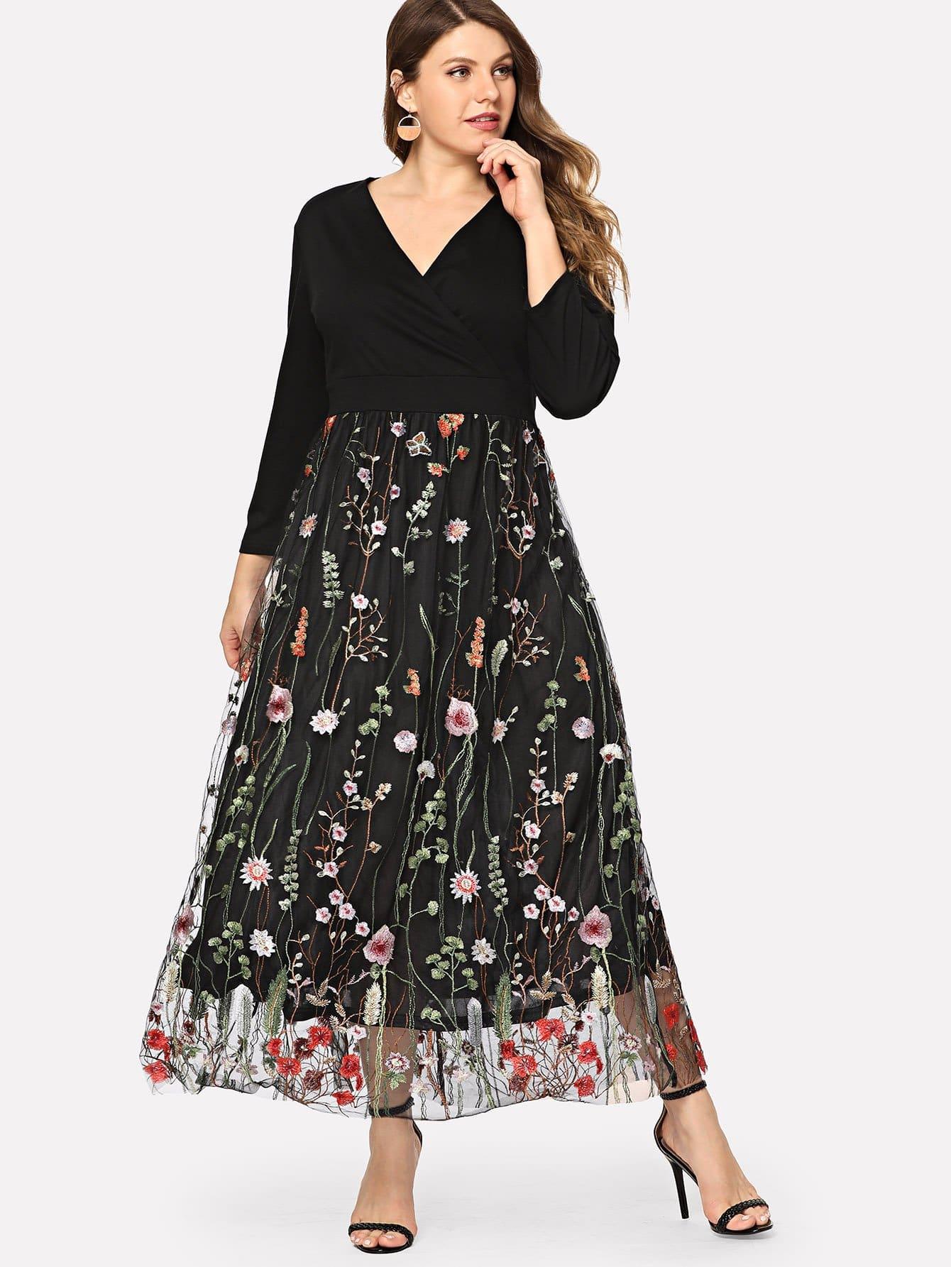 Купить Чёрные Вышивка Цветочный Повседневные Платья размера плюс, Isabela, SheIn