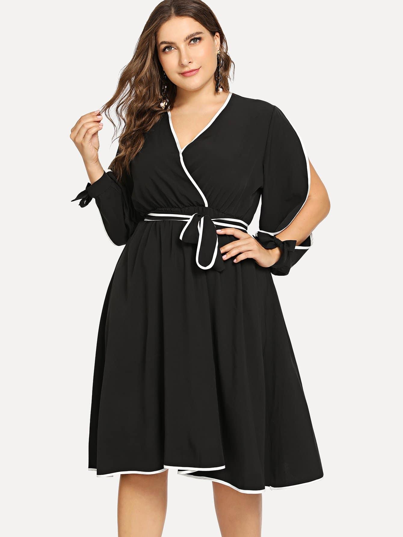 Купить Повседневные с поясом Чёрные Платья большого размера, Franziska, SheIn