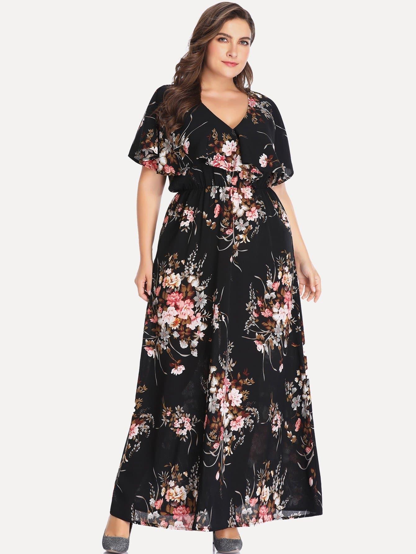 Купить Повседневные Цветочный Чёрные Платья большого размера, Franziska, SheIn