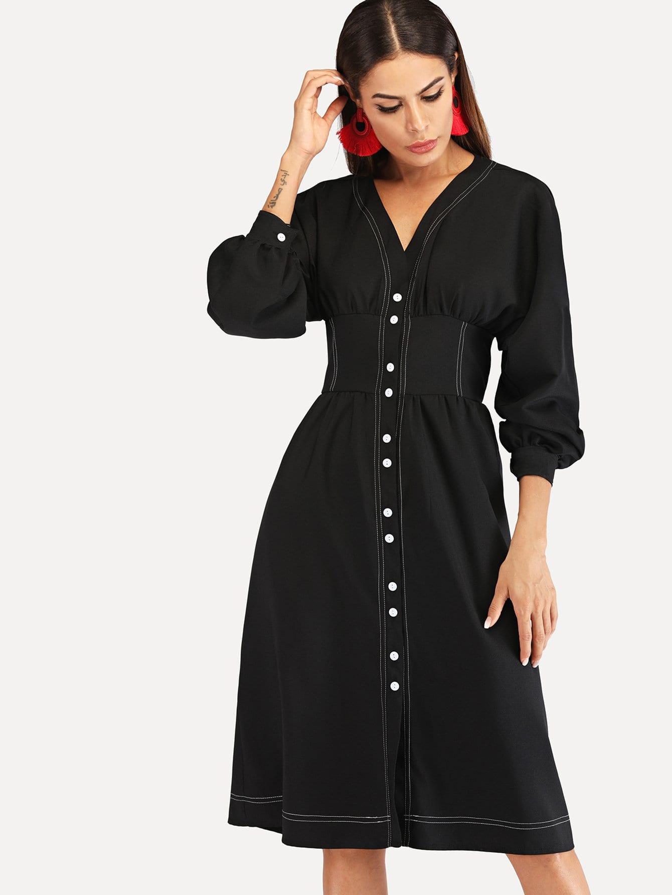 Купить Однобортное платье с рукавами, присборенный у манжета, Andy, SheIn