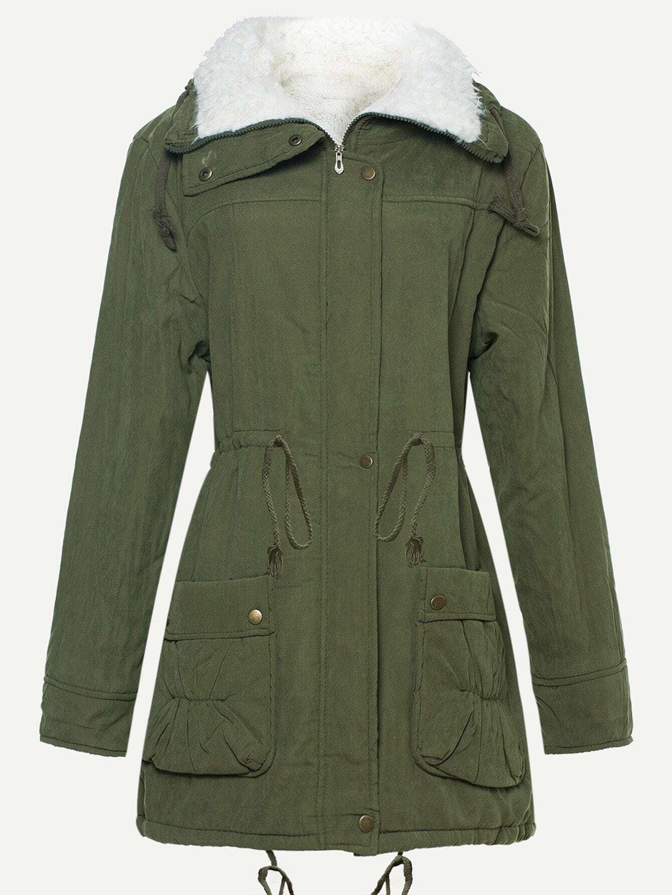 Пальто из искусственных кож и с басоном эластичным, null, SheIn  - купить со скидкой