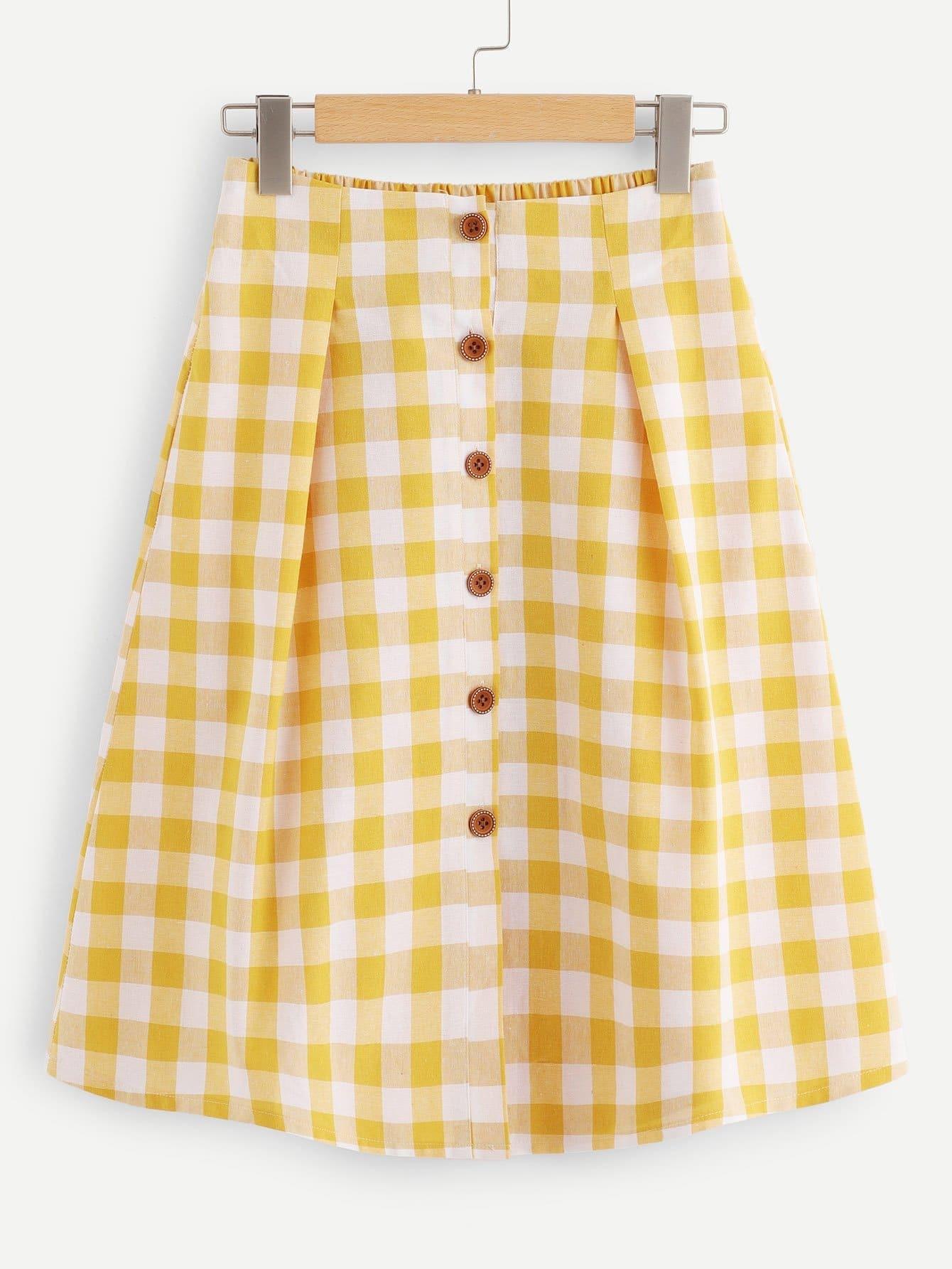Plus Plaid Single Breasted Skirt