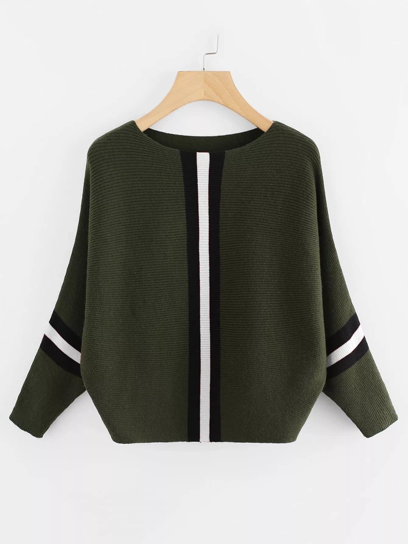Plus Stripe Contrast Knit Jumper