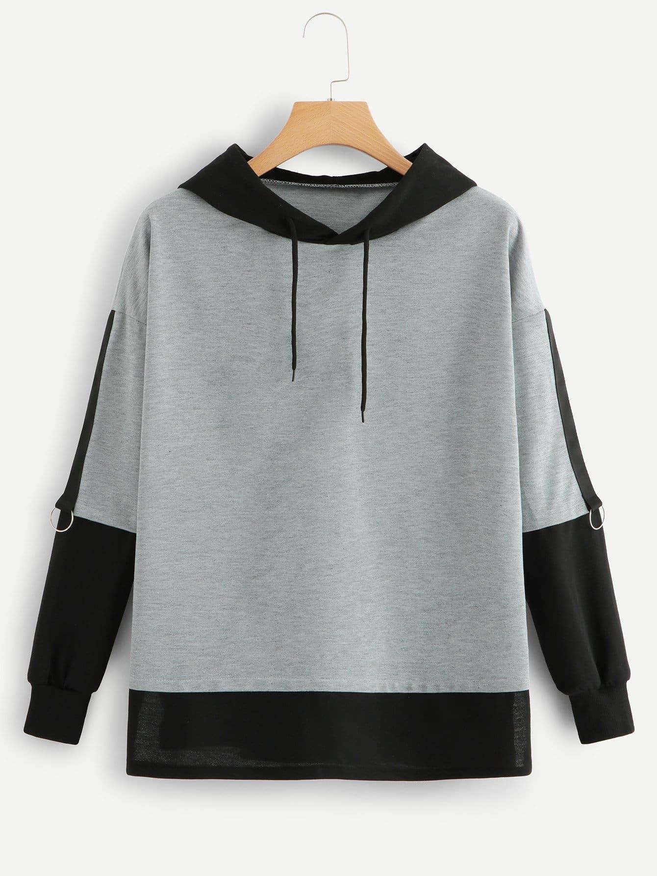Купить Повседневный Контрастный цвет Пуловеры Серый Свитшоты, null, SheIn