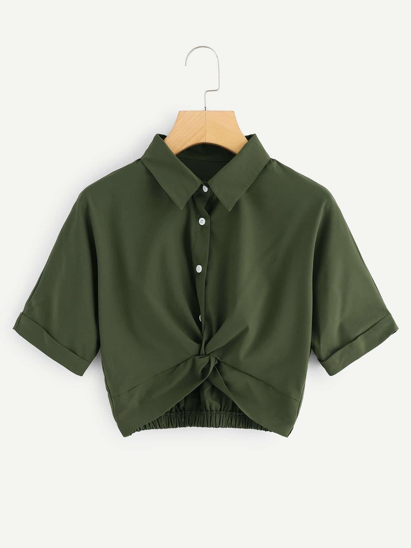 Twist Front Cuffed Blouse