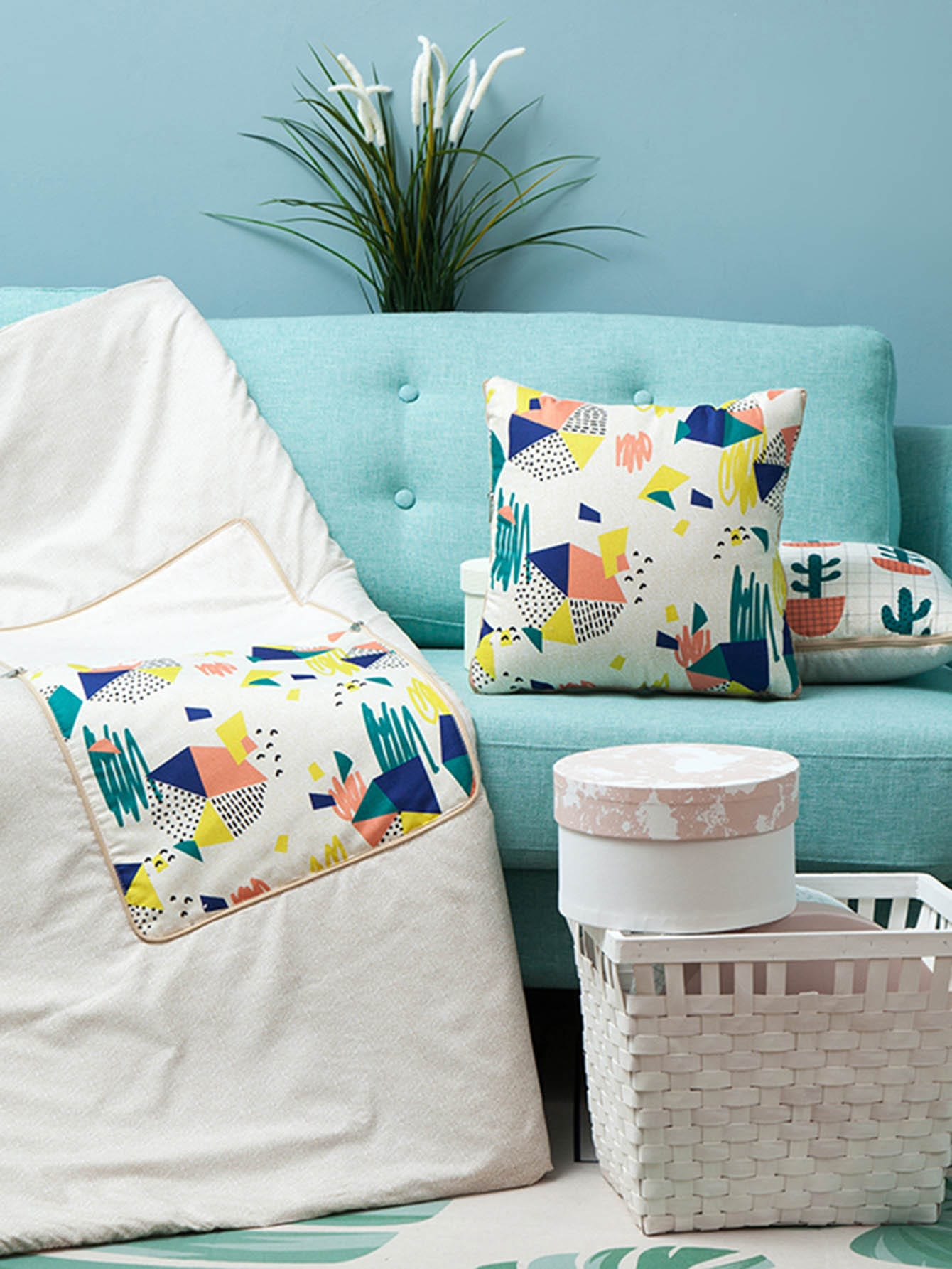 Geometric Print 2 in 1 Blanket Cushion 1 PC