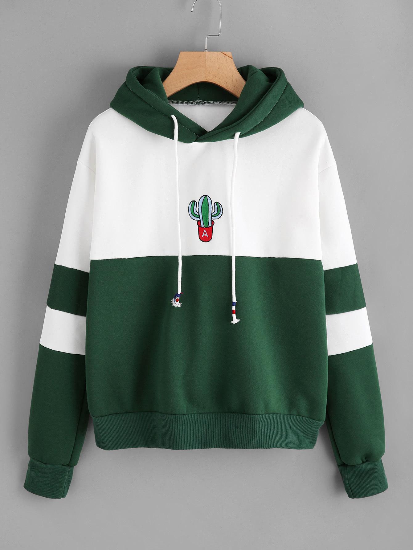 Купить Повседневный Цвет блок мода Пуловеры Белый Свитшоты, null, SheIn