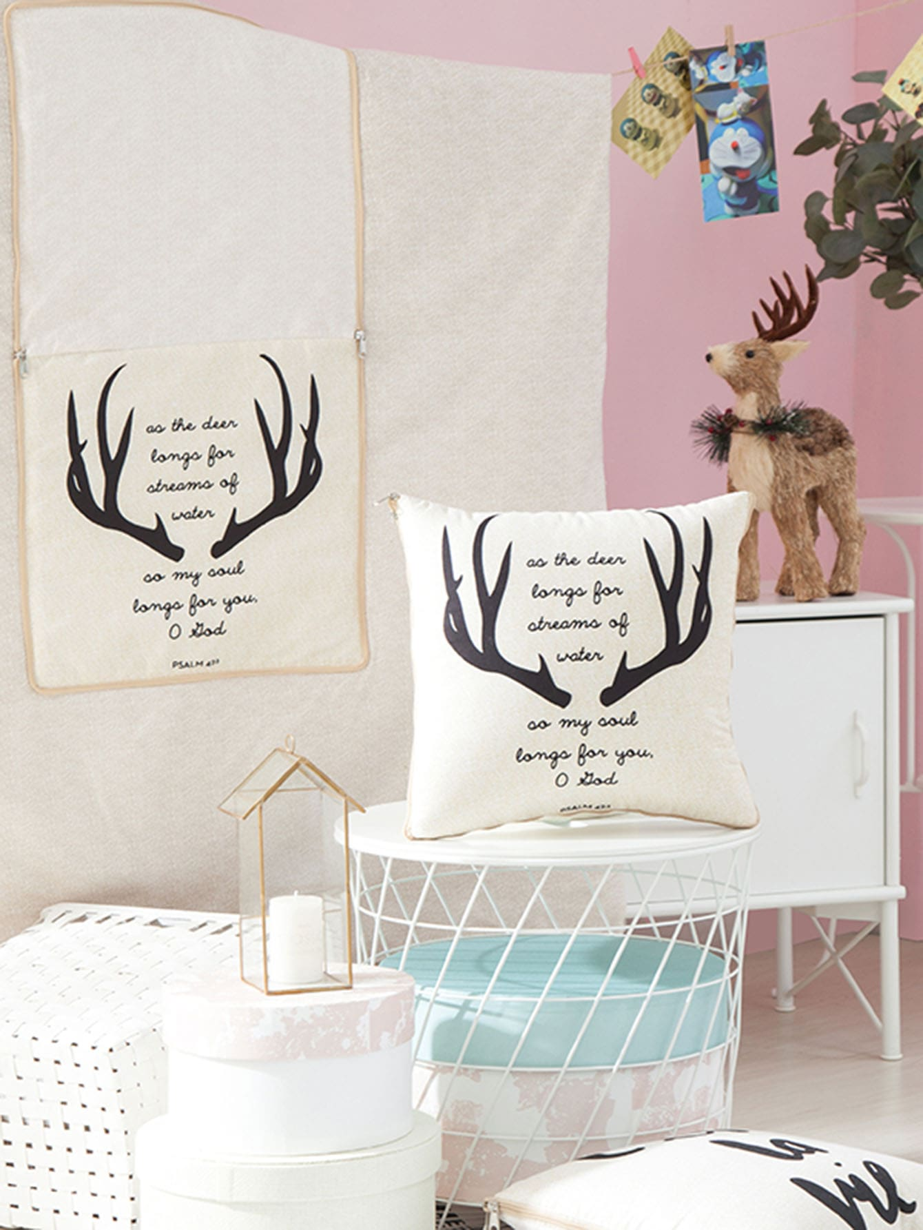 Deer & Letter Print 2 in 1 Blanket Cushion 1 PC