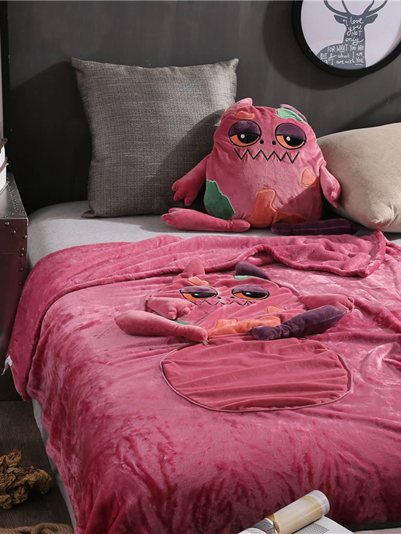 Monster Print 2 in 1 Blanket Cushion 1 PC