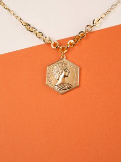 Figure Pendant Chain Link Necklace