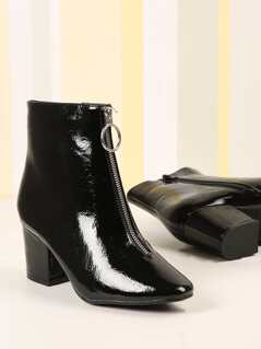 Crinkled Faux Patent Leather Zipper Detail Booties