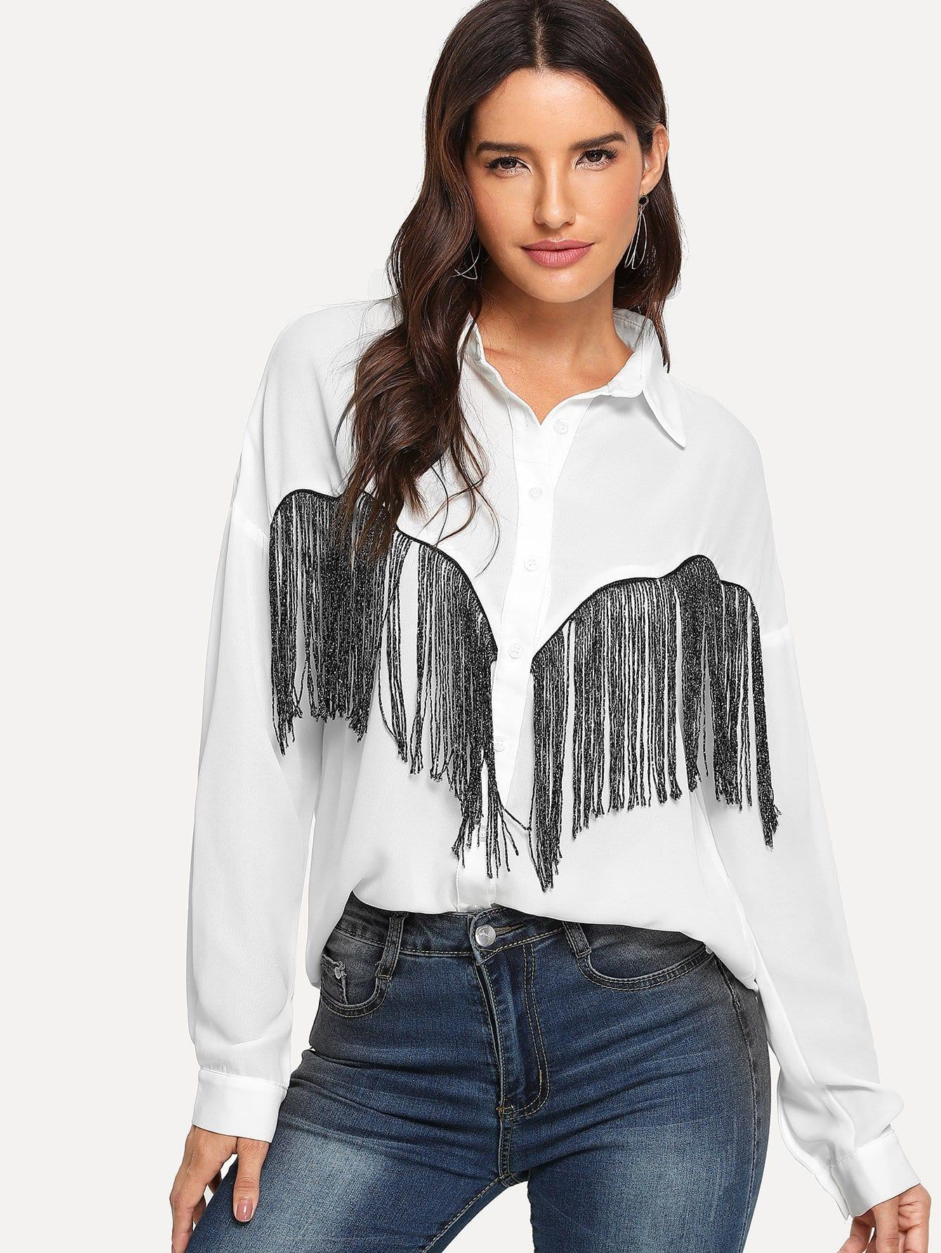 Купить Рубашка Украшение Из Бисера С Бахромами, Juliana, SheIn