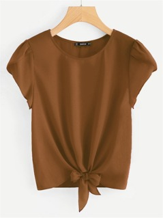 Tulip Sleeve Knot Front Top