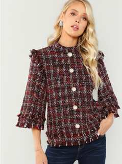 Button  Embellished Tweed Pullover Coat