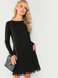 Solid Tassel Hem Dress