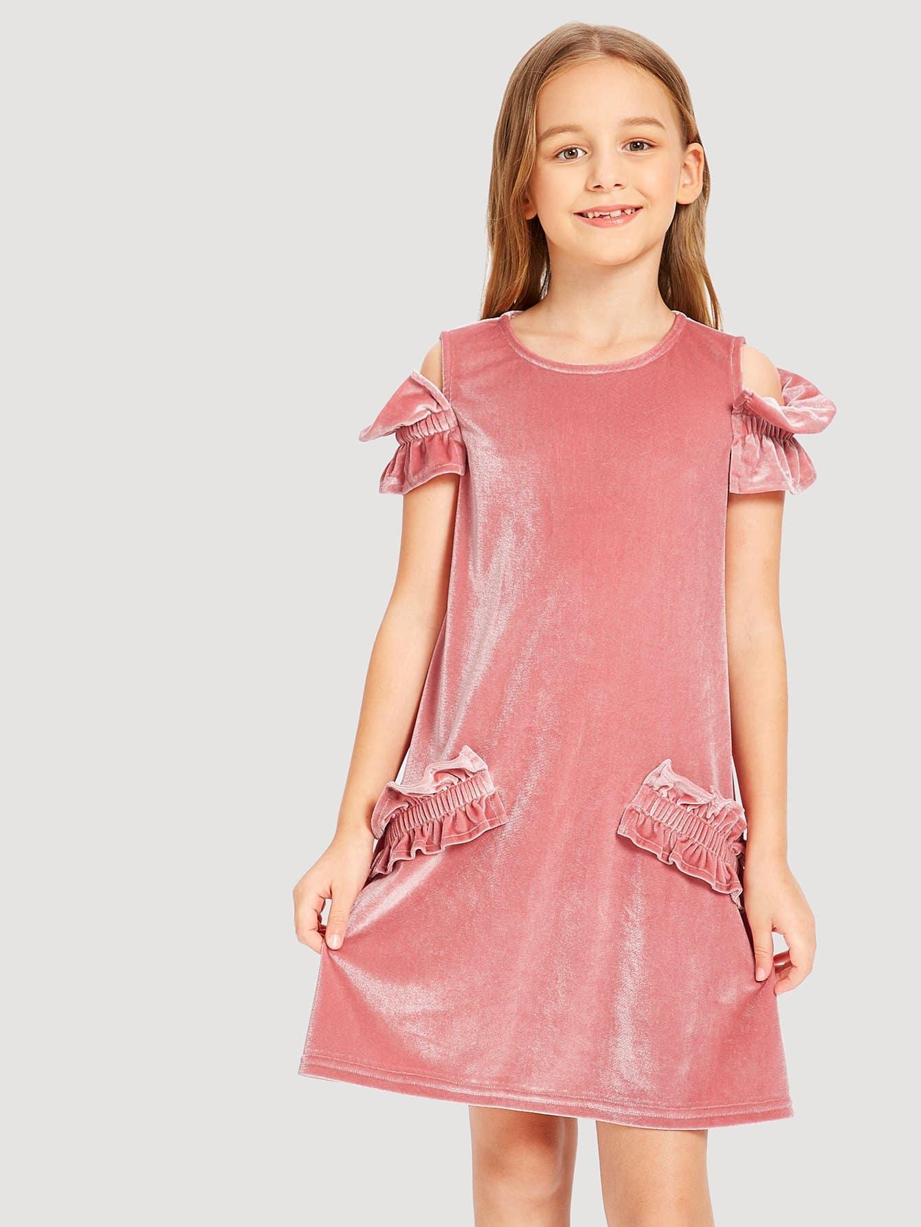 Купить Платье без бретелек и с кружевными оборками и с застёжкой сзади однжды для девочки, Sashab, SheIn