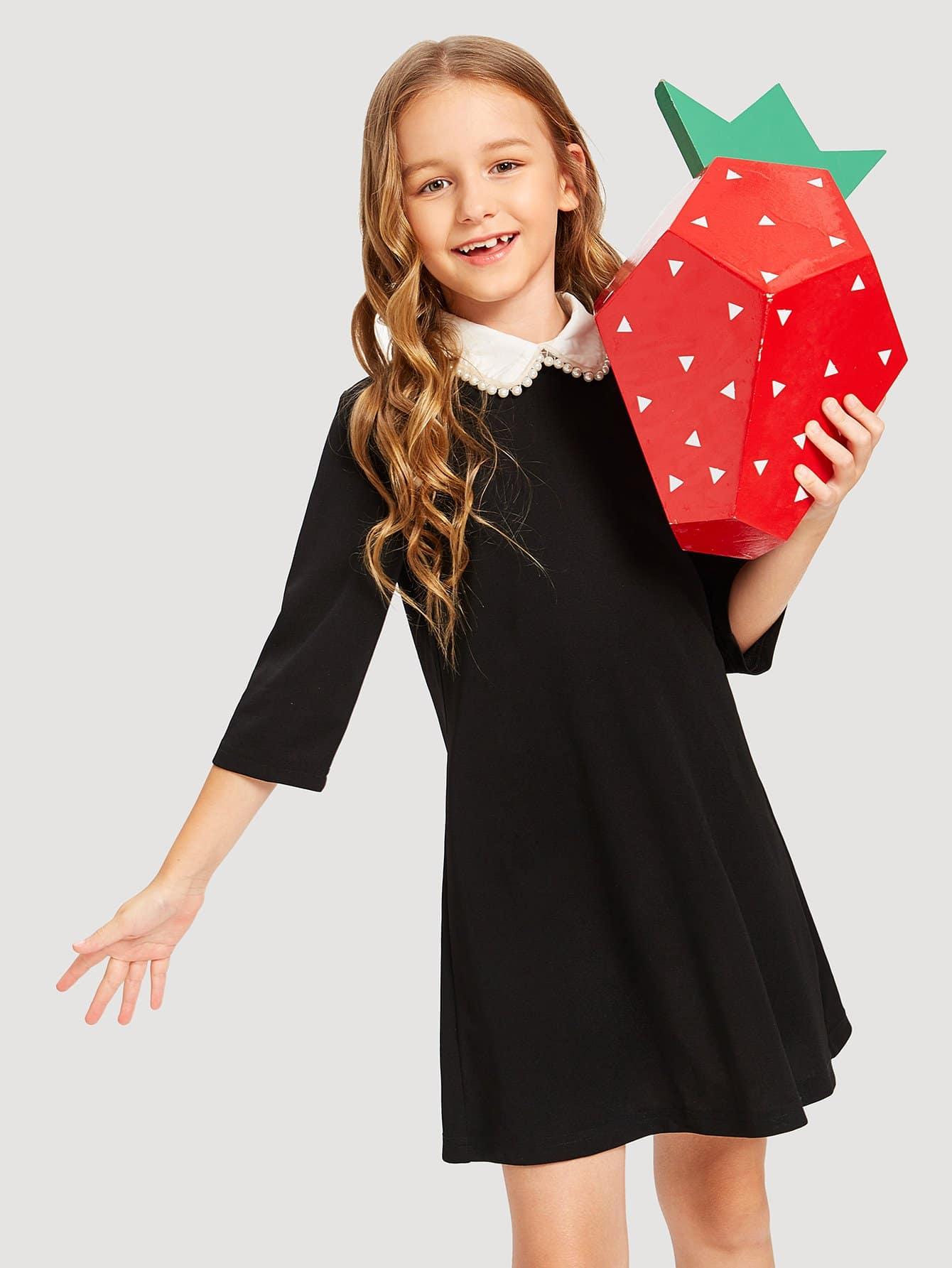 Купить Девушка с контрастным воротником с перламутровым платьем, Sashab, SheIn