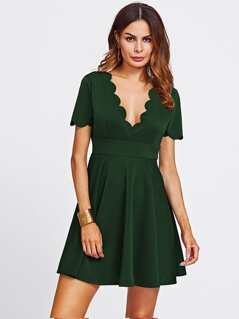 Scallop Trim Fit & Flare Plunging Dress