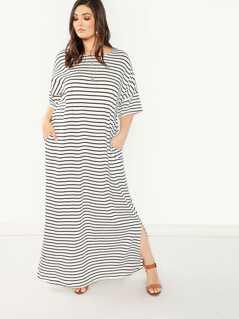 Plus Pocket Side Slit Hem Striped Dress
