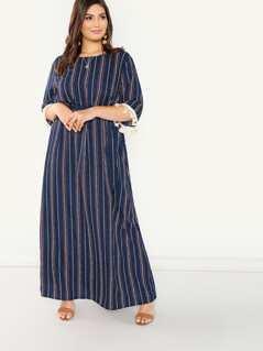 Plus Tassel Applique Cuff Vertical Stripe Dress