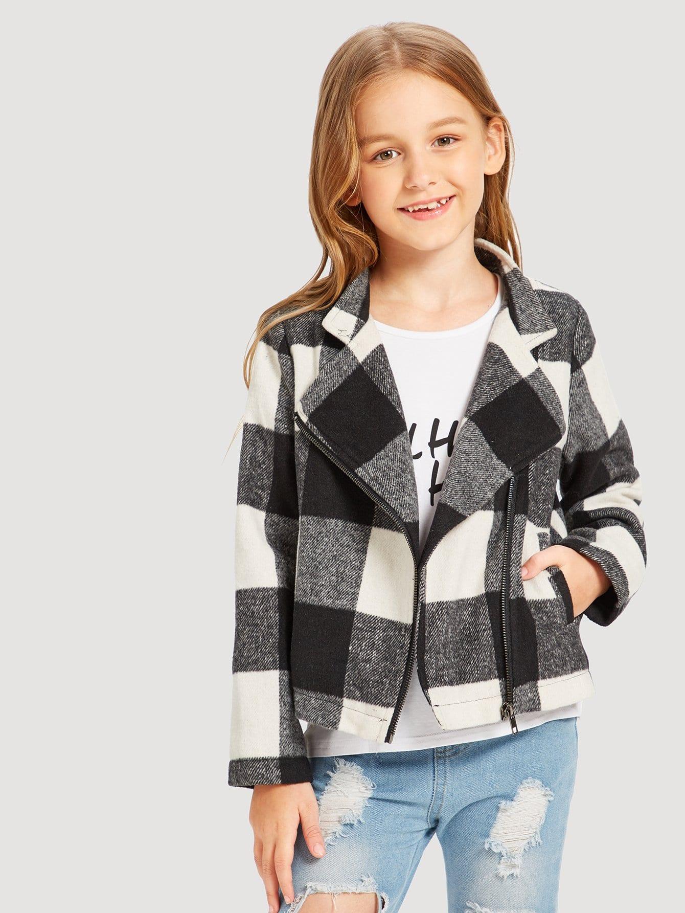 Купить Девушки Zip Up Plaid Gingham Print Jacket, Sashab, SheIn