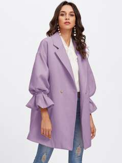 Drop Shoulder Pearl Detail Ruffle Cuff Coat