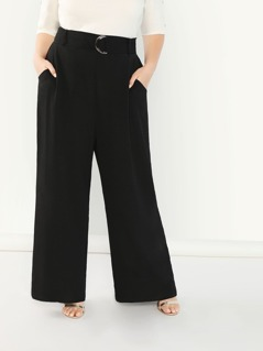 Plus Adjustable Belted Wide Leg Pants