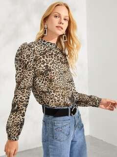 Leopard Print Mock Tee