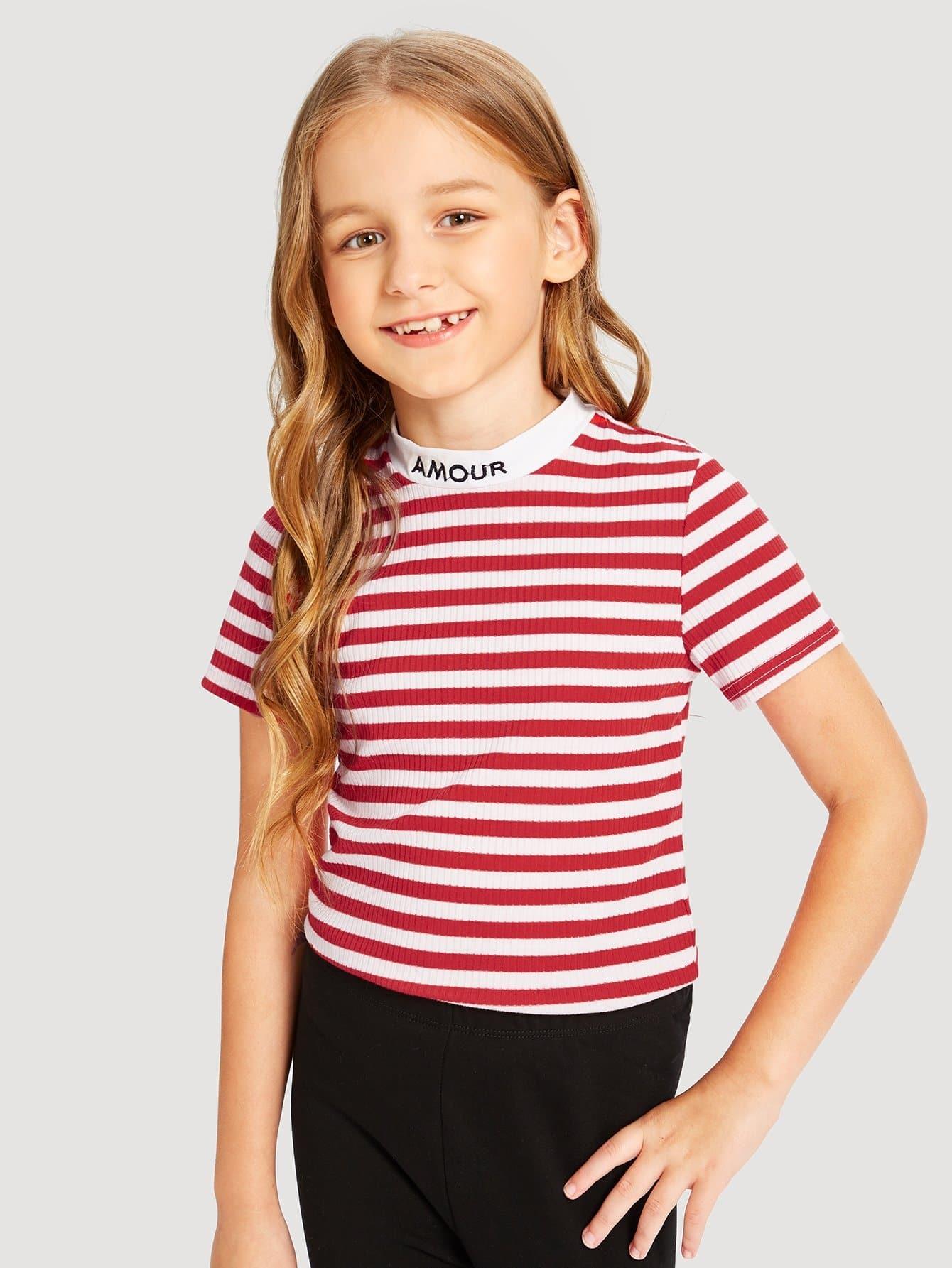 Купить Полосатая футболка с рисунками буквы для девочки, Sashab, SheIn