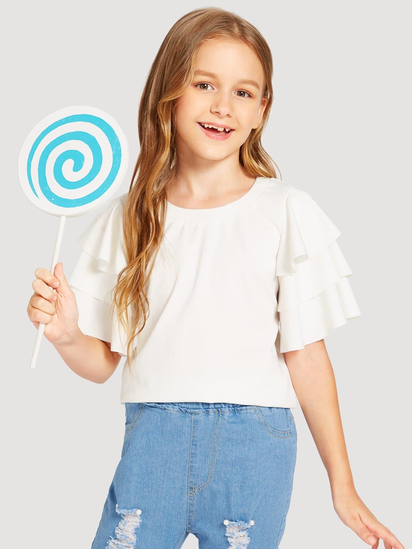Купить Простая футболка с накрахмаленными рукавами для девочки, Sashab, SheIn