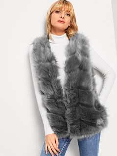 Faux Fur Chevron Paneled Vest