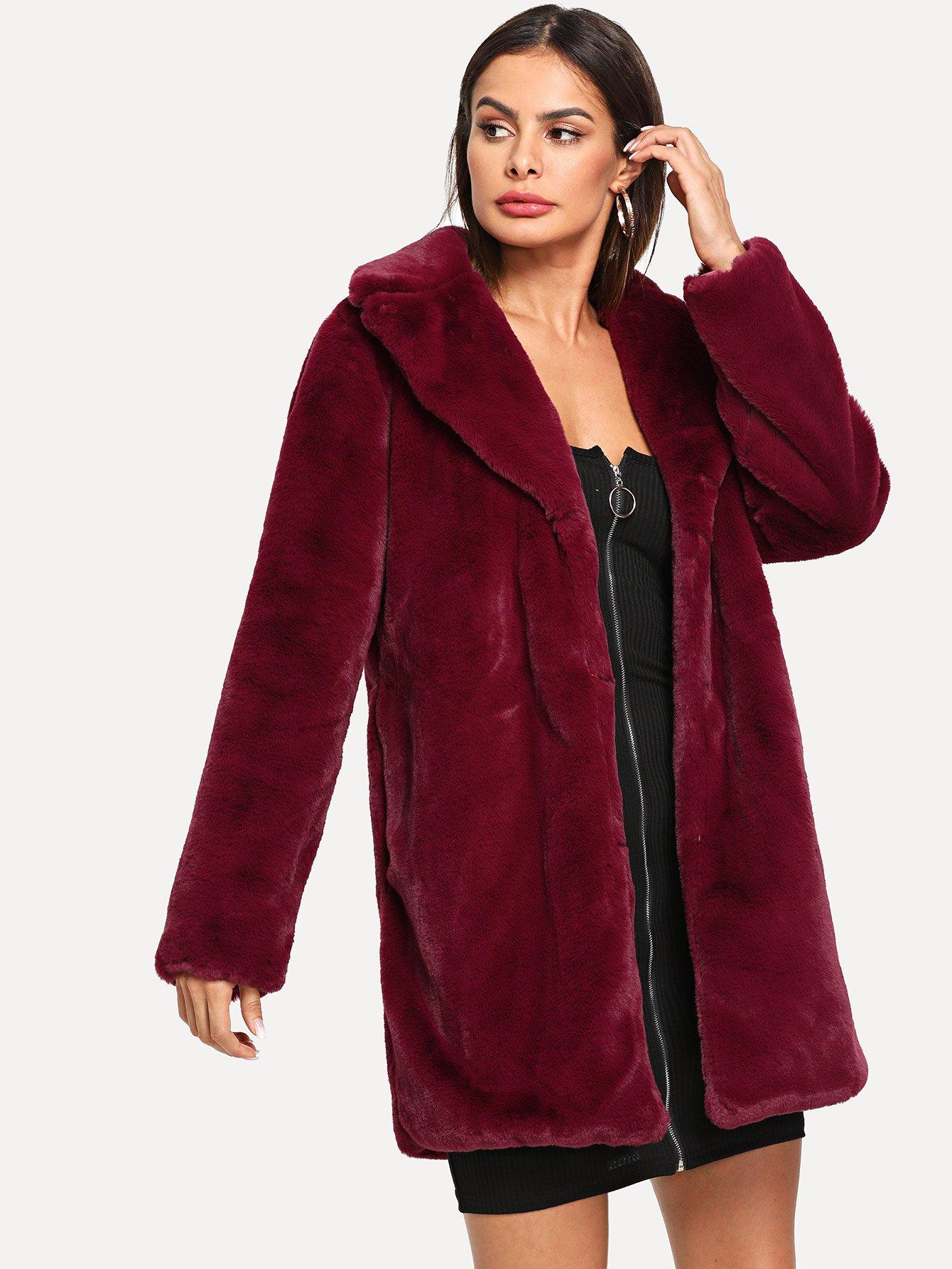 Купить Тедди пальто из искусственного меха с зубчатым вырезом, Andy, SheIn
